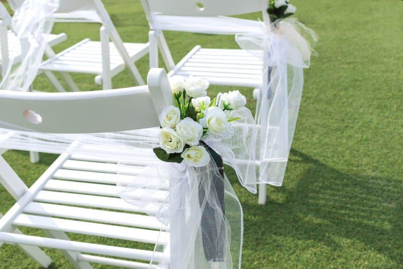 Beautiful wedding decorations on Sidari beach near the D`Amour canal on the island of Corfu, Greece royalty free stock image