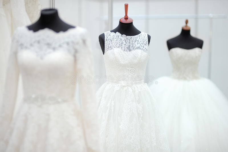 Beautiful wedding dresses. On a mannequin royalty free stock photo