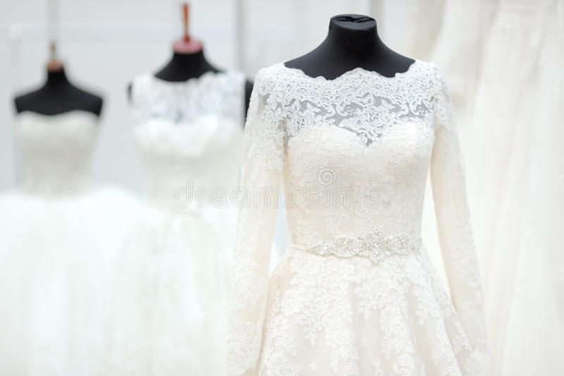 Beautiful wedding dresses. On a mannequin royalty free stock images