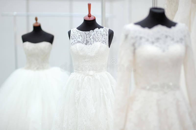 Beautiful wedding dresses. On a mannequin stock photography