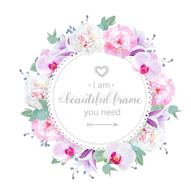Free Beautiful Wedding Floral Vector Design Frame. Pink And White Peony, Purple Orchid, Violet Campanula Flowers. Royalty Free Stock Images - 79243209