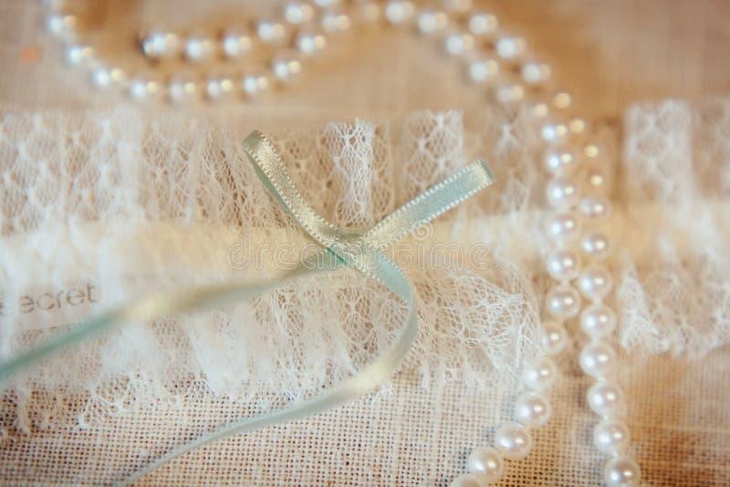 Beautiful wedding garter royalty free stock photos