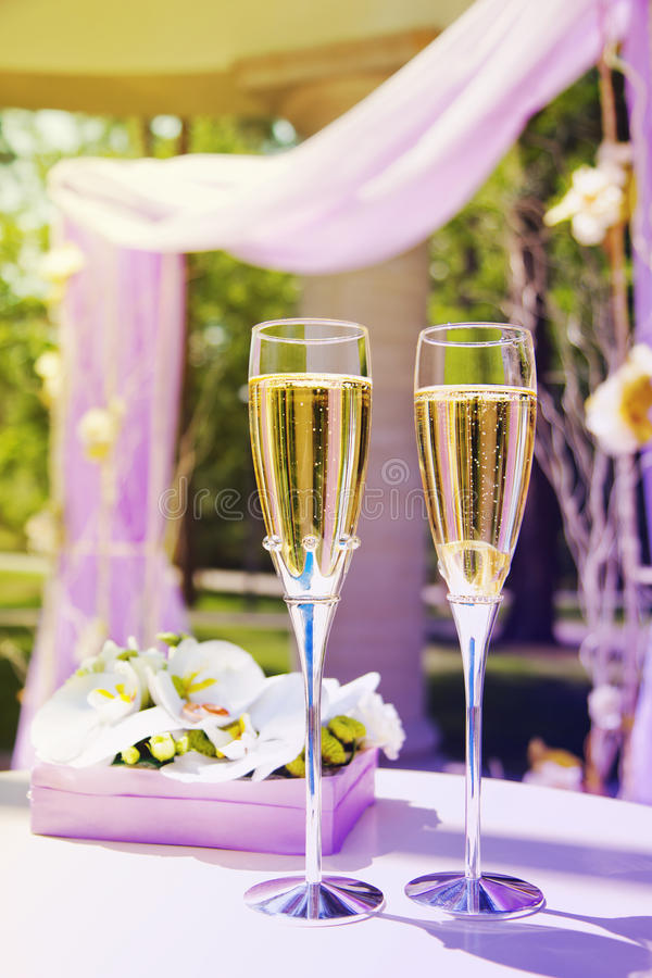 Beautiful wedding gazebo with champagne royalty free stock images