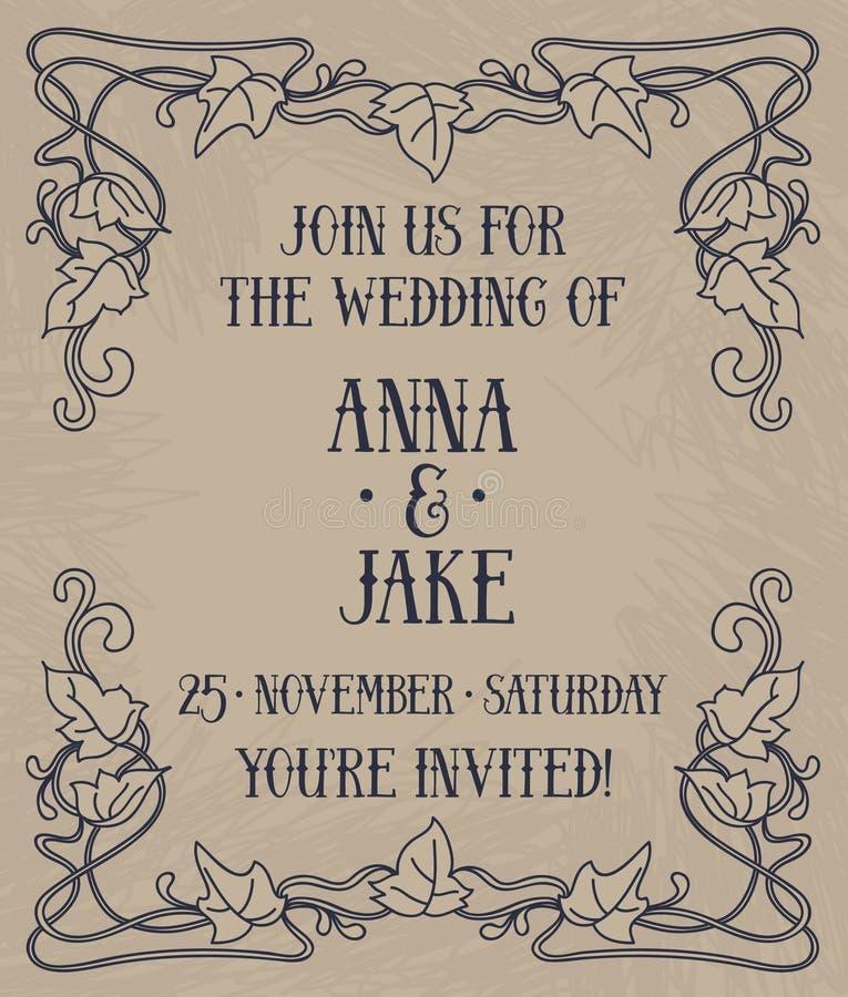 Beautiful wedding invitation in art nouveau retro style royalty free illustration
