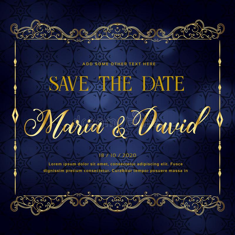 Beautiful wedding invitation card design in premium style stock illustration