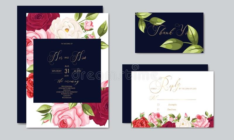 Beautiful wedding invitation card template with floral leaves. Set of beautiful Wedding invitation Card,save the date thank you card,rsvp with floral and leaves vector illustration