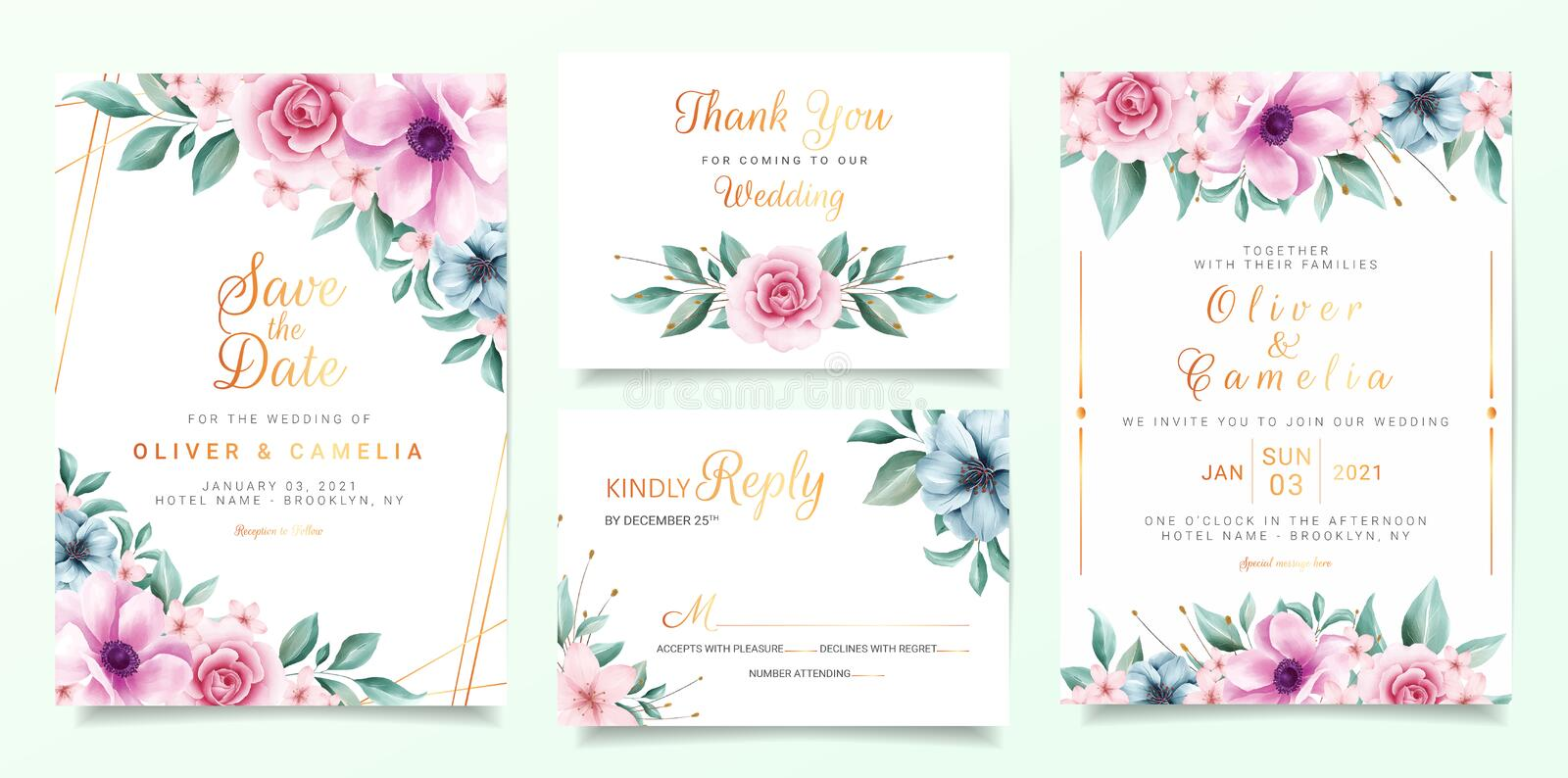 Beautiful wedding invitation card template set with colorful flowers border and gold decoration Purple and peach roses flowers 皇族释放例证