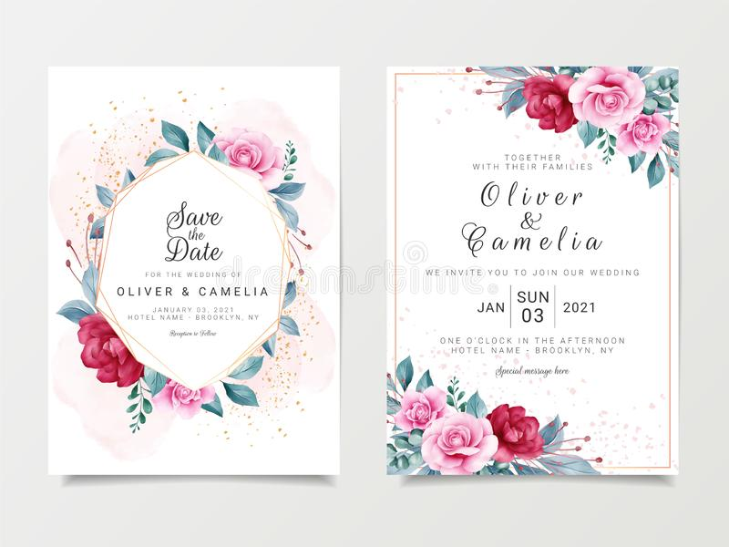 Beautiful wedding invitation card template set with geometric floral frame and gold glitter 玫瑰叶植物插图 向量例证