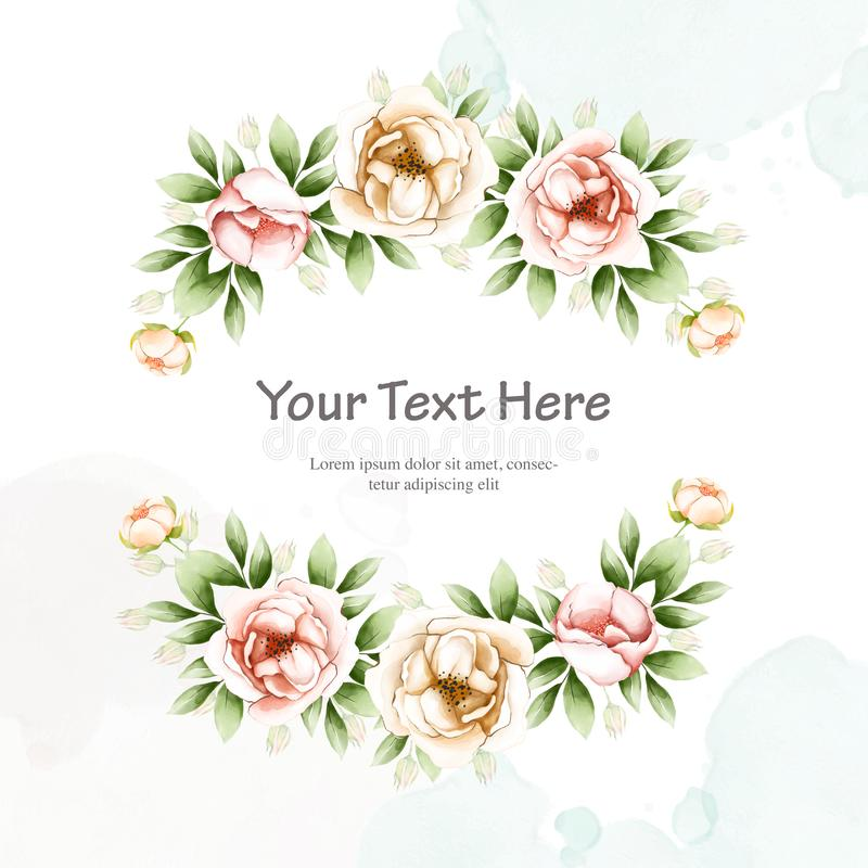 Beautiful wedding invitation card with watercolor floral. Template in black background vector illustration