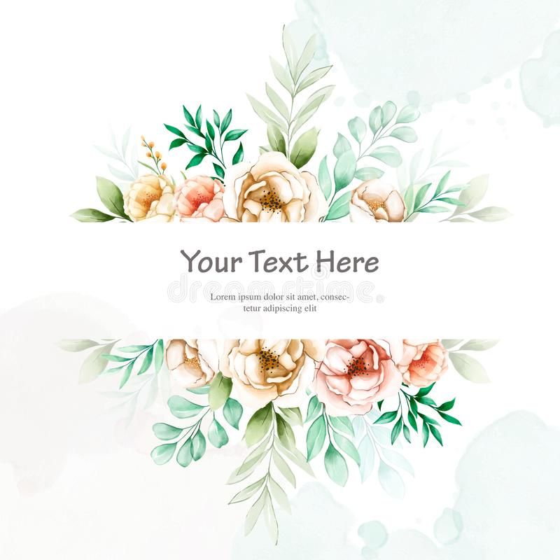 Beautiful wedding invitation card with watercolor floral. Template in black background royalty free illustration