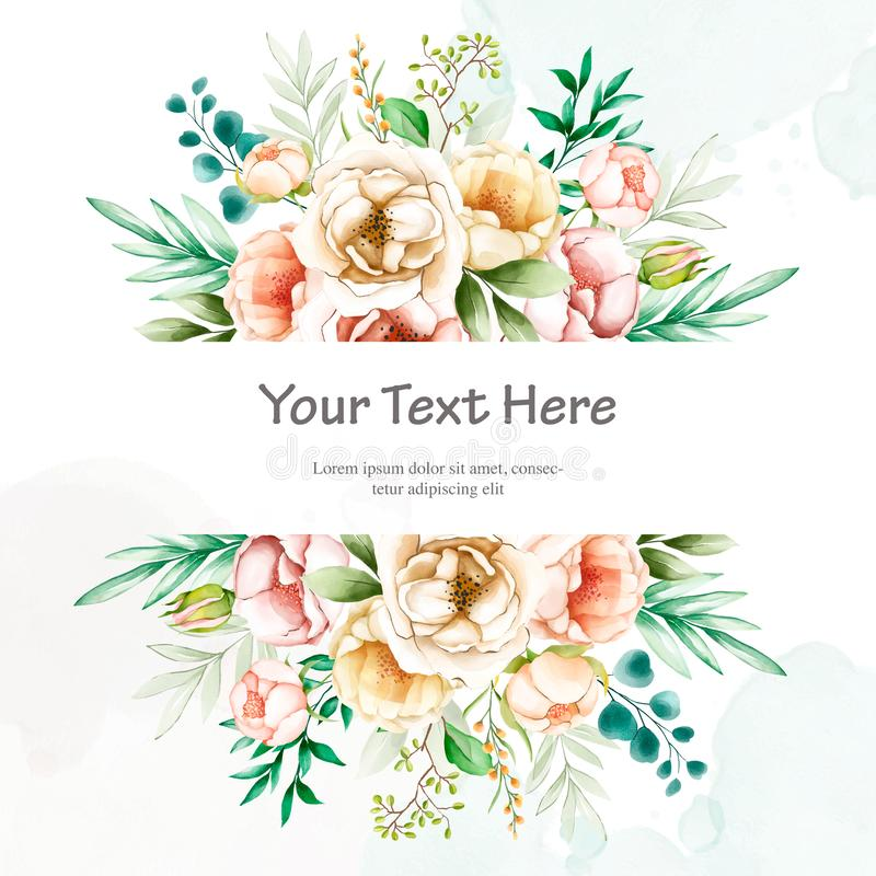 Beautiful wedding invitation card with watercolor floral. Template in black background stock illustration
