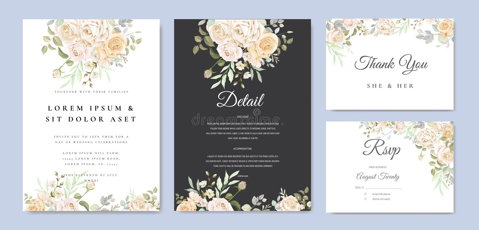 Beautiful wedding invitation card with watercolor floral royalty free stock images