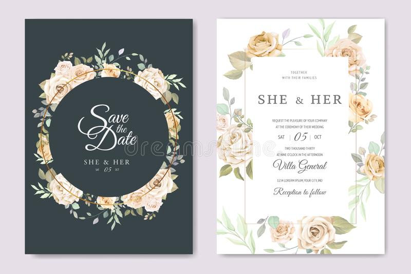 Beautiful wedding invitation card with watercolor floral stock image