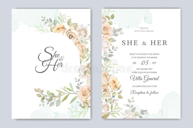 Beautiful wedding invitation card with watercolor floral royalty free stock image