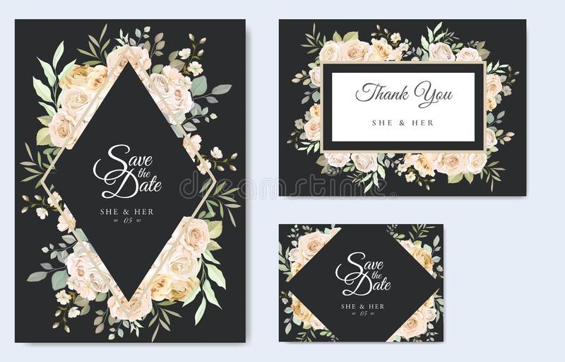 Beautiful wedding invitation card with watercolor floral royalty free stock photography