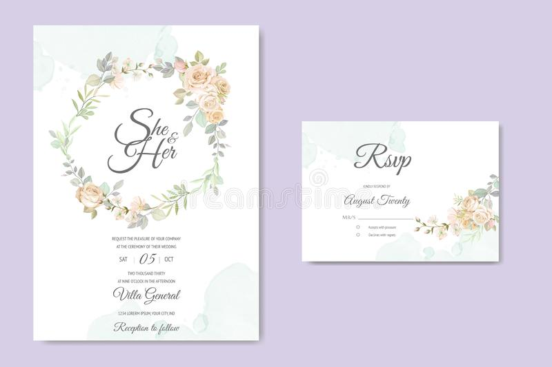 Beautiful wedding invitation card with watercolor floral royalty free stock photos