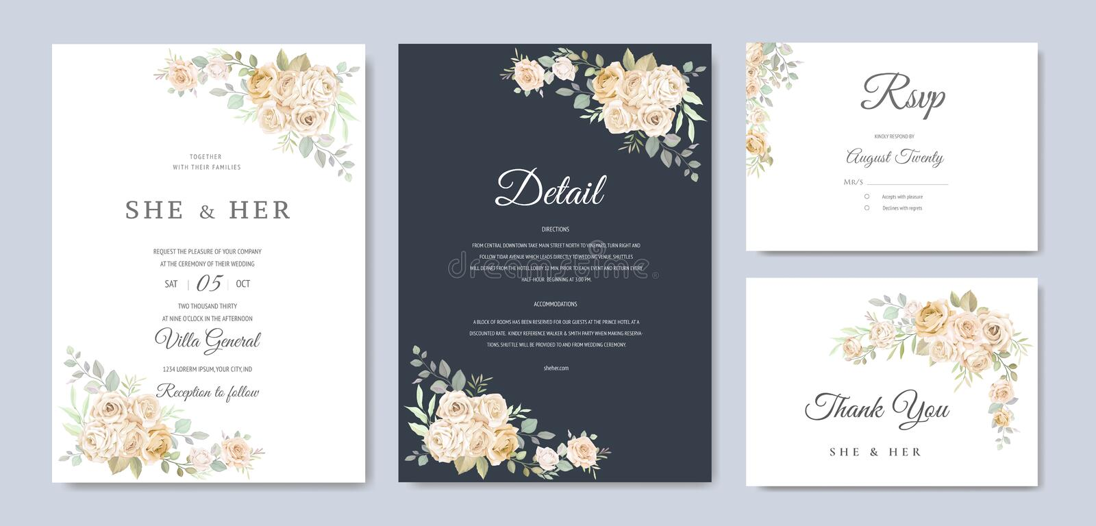 Beautiful wedding invitation card with watercolor floral stock photography