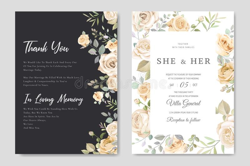 Beautiful wedding invitation card with watercolor floral stock photos