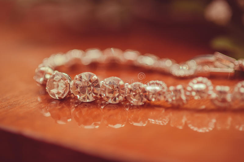 The beautiful wedding jewelry bracelet. For bride stock photos