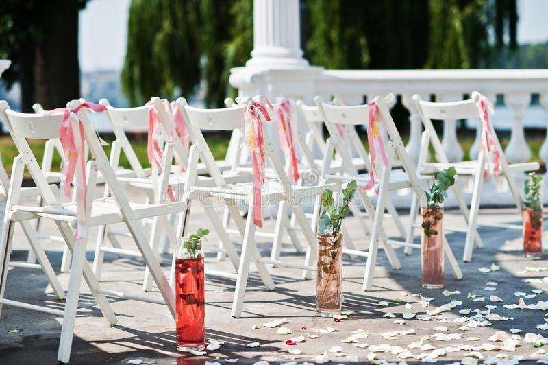Beautiful Wedding Set Of Chairs Decoration In The Outdoor Ceremony