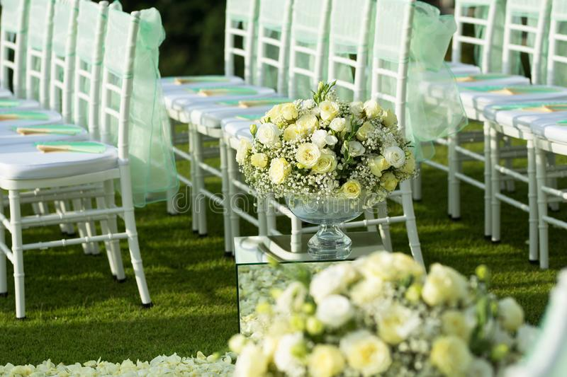 Beautiful wedding set up.Wedding ceremony on green lawn in the stock images