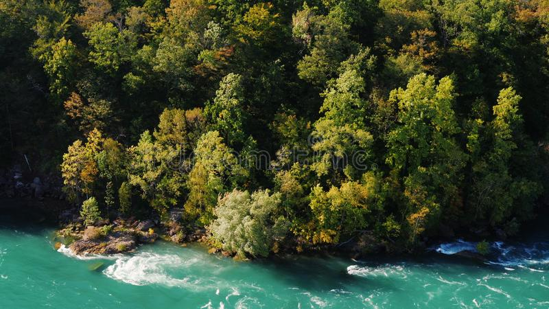 Beautiful weight on a steep mountain slope. Downstream is the Niagara River. Nature of the USA and Canada. royalty free stock photography