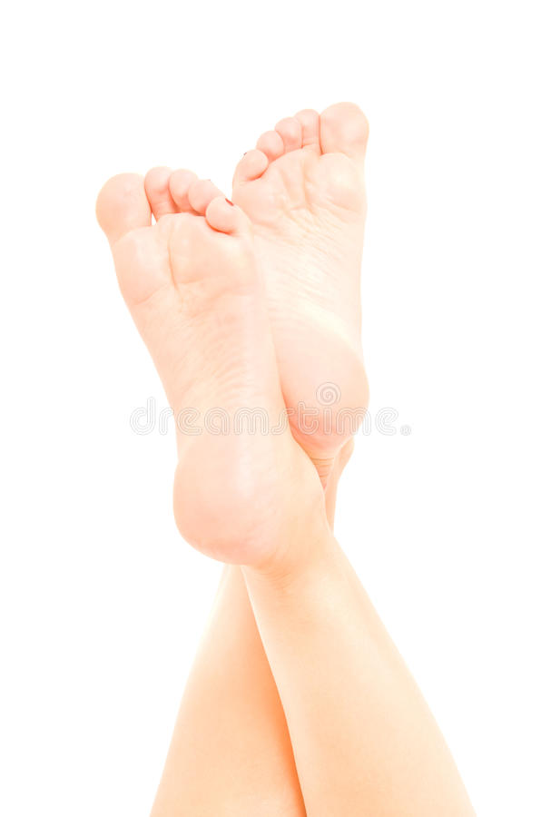 Beautiful well-groomed female foot stock image