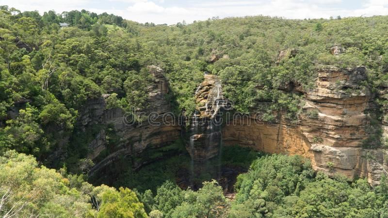 A Beautiful Wentworth Falls and view of the canyon in Blue Mountains, Australia royalty free stock photography