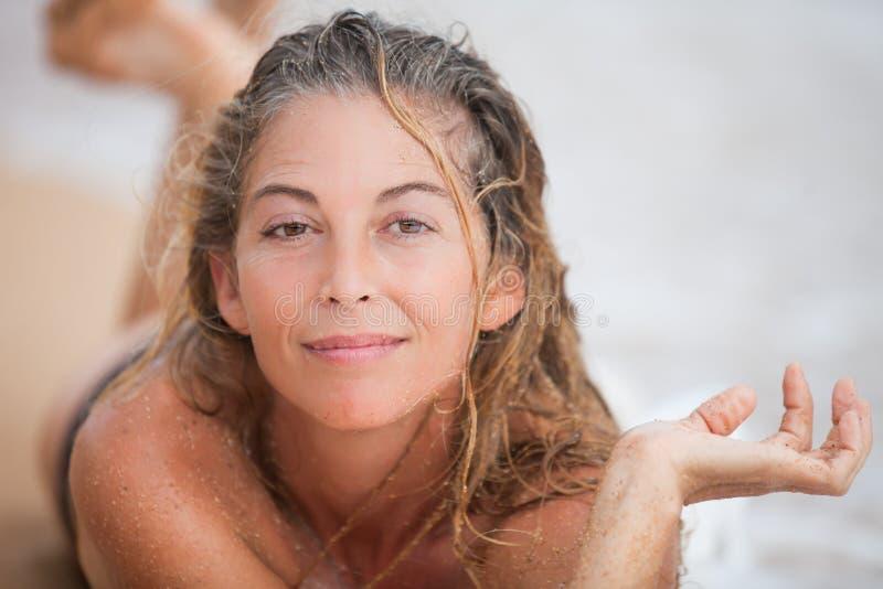 Beautiful Wet Sandy Woman royalty free stock photo