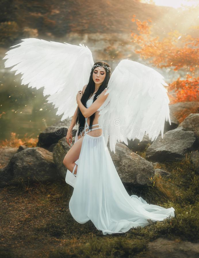 A beautiful white archangel stock photos