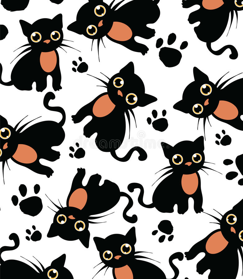 Beautiful white background with black cat pattern stock download beautiful white background with black cat pattern stock illustration image 36501545 pronofoot35fo Image collections