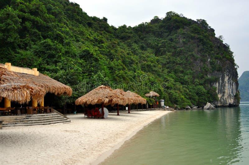 Beautiful white beach at Ha Long bay, Vietnam. View of Ha Long Bay beach, Vietnam stock image
