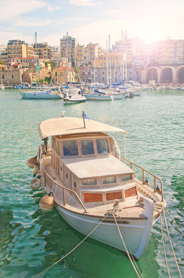 Beautiful white boat in city dock on sunny day royalty free stock photos