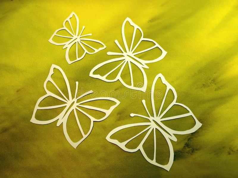 Beautiful white butterfly cut from paper stock photo