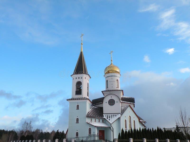 Beautiful white church in Palanga, Lithuania stock photography