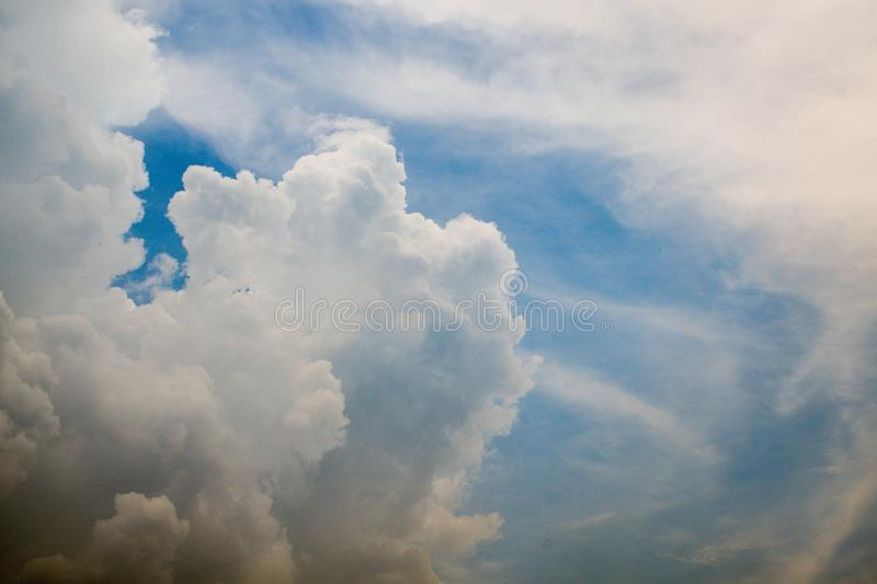 Beautiful white cloud and blue sky background,copy space stock photos