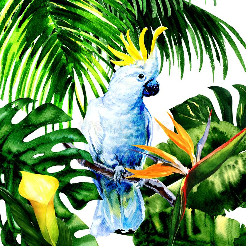 Beautiful white Cockatoo, colorful big parrot in jungle rainforest, exotic flowers and leaves, watercolor illustration. On white background royalty free illustration