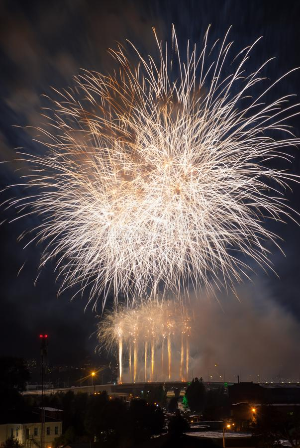 Beautiful white fireworks stock photo