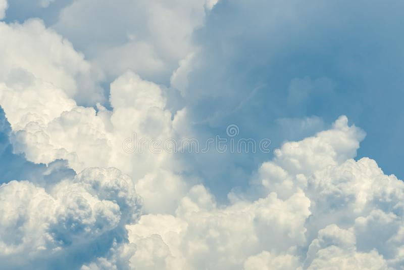 Beautiful white fluffy cloud abstract background. Cloudscape.  Fluffy white clouds on sunny day. Nature weather. Soft like cotton royalty free stock photos