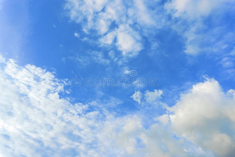 Beautiful white fluffy clouds with blue sky background. Nature weather, the vast cloud blue sky. stock photography