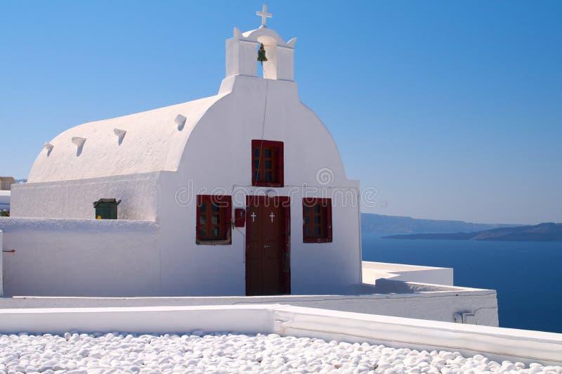 Beautiful white Greek church royalty free stock photos