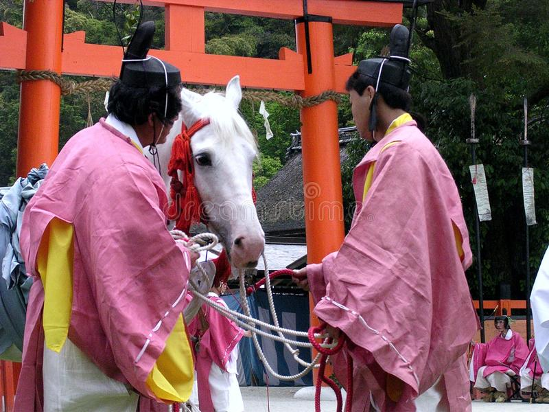 Beautiful white horse during a shinto ceremony at a shrine in Japan stock photo