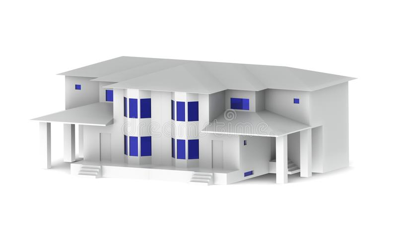 Beautiful white house with blue windows on a white background. With shadows turned stock illustration