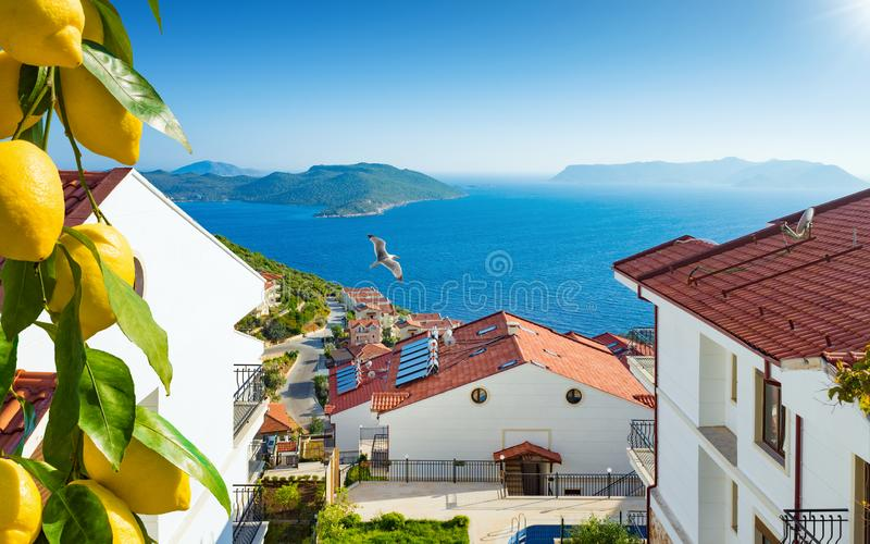 Beautiful white houses with amazing sea view royalty free stock photo