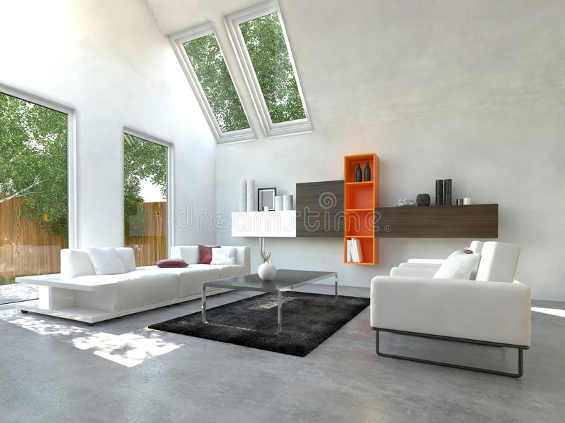Beautiful White Inspired Living Room royalty free illustration