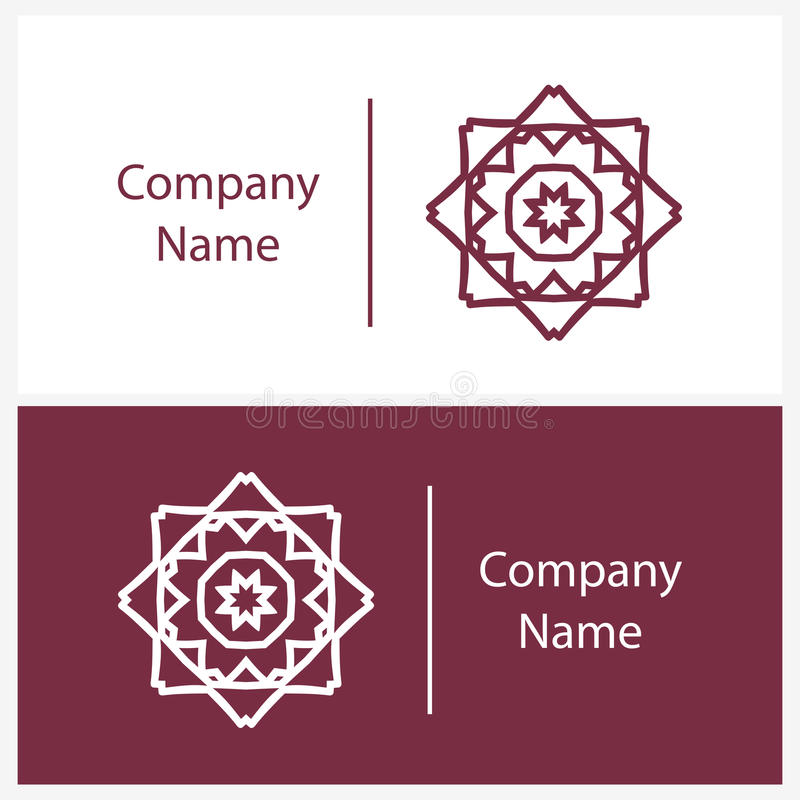 Beautiful white linear circular logo. Logotype for boutique. Kaleidoscope. vector illustration