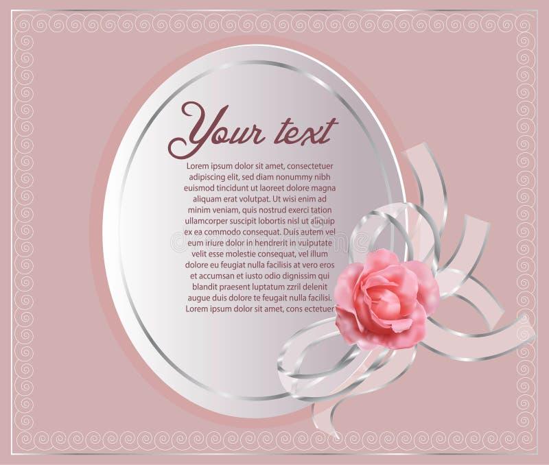 Beautiful border with rose pink. Beautiful white paper border with rose pink on pink background stock illustration
