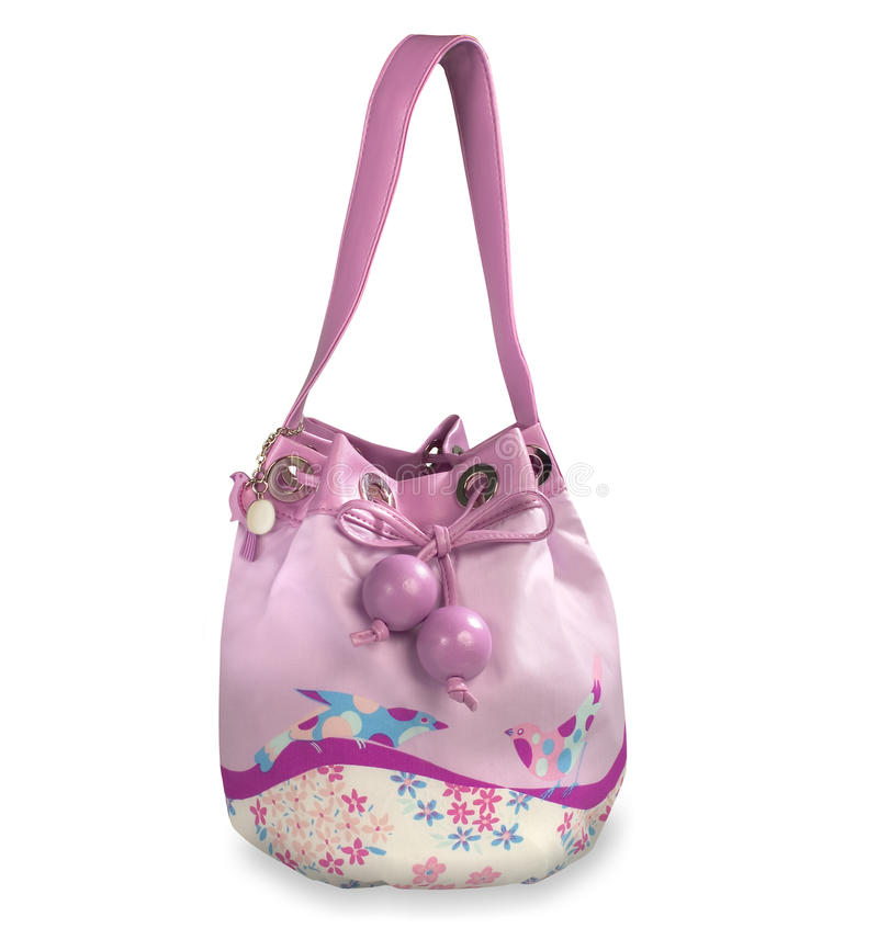 Beautiful white and pink handbag with birds