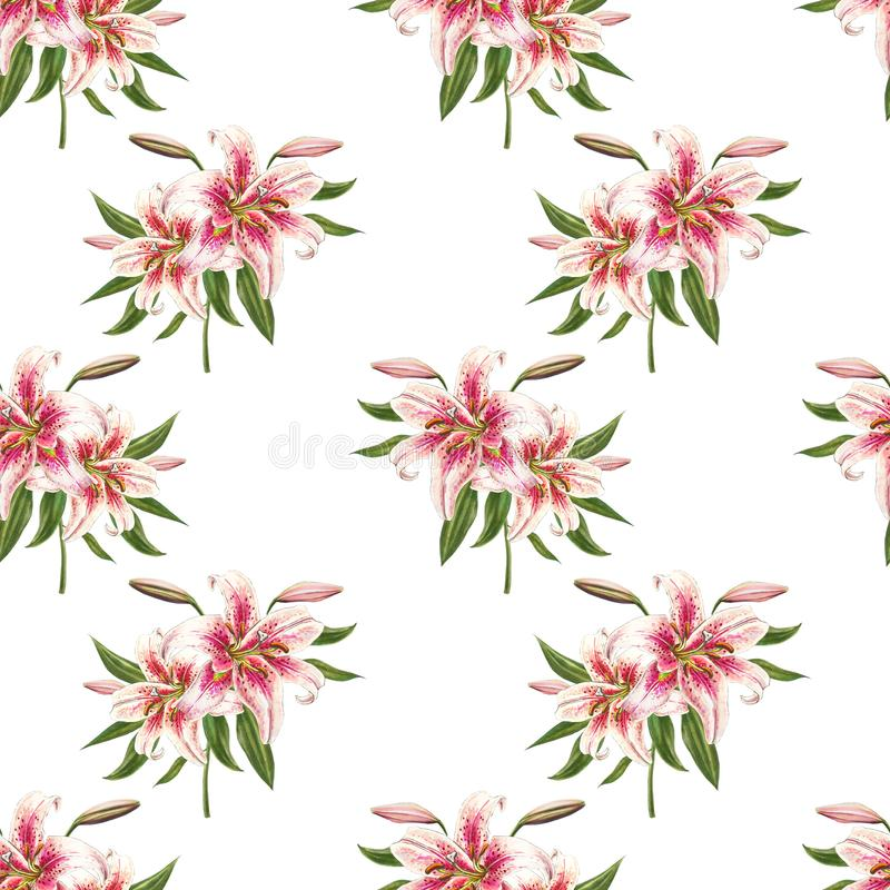 Beautiful white and pink lily seamless pattern. Bouquet of flowers. Floral print. Marker drawing. vector illustration