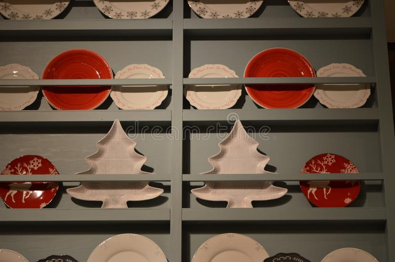 Red  and white christmas  plates stock photography